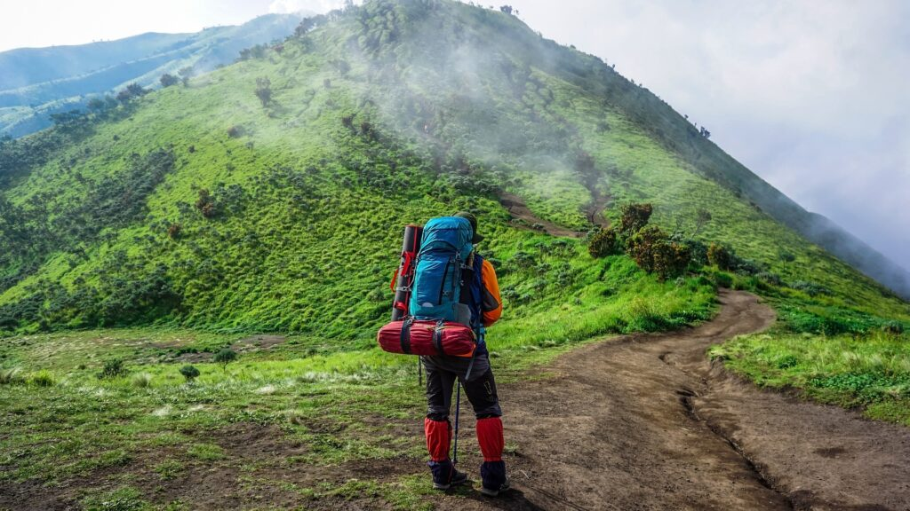 Backpacker on a trail